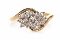 Lot 98-EIGHTEEN CARAT GOLD DIAMOND CLUSTER RING the...