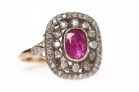 Lot 140 - VICTORIAN STYLE RUBY AND DIAMOND RING the...