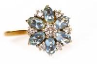 Lot 141 - AQUAMARINE AND DIAMOND CLUSTER RING the...