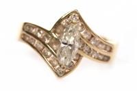 Lot 158 - EIGHTEEN CARAT GOLD DIAMOND DRESS RING set...