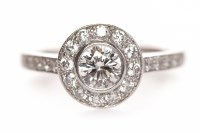 Lot 172 - EIGHTEEN CARAT WHITE GOLD DIAMOND RING with a...