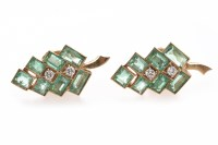 Lot 238 - PAIR OF EMERALD AND DIAMOND DROP EARRINGS each...