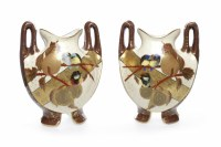 Lot 752-PAIR OF HAND PAINTED CERAMIC BALUSTER VASES...