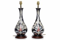 Lot 766-PAIR OF MODERN MOORCROFT TABLE LAMPS of outward...