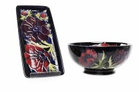 Lot 767-MODERN MOORCROFT 'ANEMONE' PATTERN BOWL AND DISH...