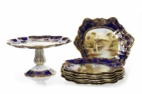 Lot 780-AYNSLEY HAND-PAINTED AND GILT DECORATED DESSERT...
