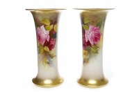 Lot 816-PAIR OF ROYAL WORCESTER TRUMPET SHAPED VASES...