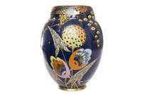 Lot 818-CARLTON WARE DEVIL'S COPSE VASE of oviform, blue...