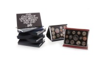 Lot 540-TEN UK PROOF COINAGE SETS including Deluxe sets,...