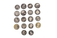Lot 550-EIGHTEEN SILVER PROOF COINS including a bank of...