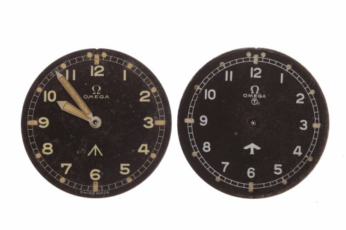 Lot 870-TWO OMEGA MILITARY ISSUE DIALS with part...