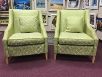 Lot 1249-TWO LARGE CONTEMPORARY WINGBACK CHAIRS IN THE...