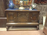 Lot 1267-OAK SIDEBOARD OF 17TH CENTURY DESIGN two central...