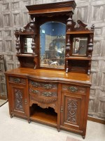 Lot 1272-VICTORIAN WALNUT MIRROR BACK SIDEBOARD the lofty...