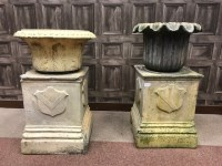 Lot 1273-TWO SCOTTISH FIRECLAY GARDEN URNS each with leaf...