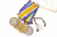 Lot 1277-TWO PAIRS OF WWI MEDALS comprising the British...