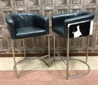 Lot 1279-PAIR OF CONTEMPORARY HIGH TUB CHAIRS with green...