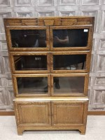 Lot 1289-OAK TWO SECTIONAL STACKING BOOKCASE BY MINTY with ...