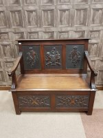 Lot 1295-LATE VICTORIAN WALNUT HALL SETTLE the raised back ...