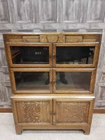 Lot 1307-OAK TWO SECTIONAL STACKING BOOKCASE BY MINTY with ...