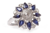 Lot 3-EIGHTEEN CARAT WHITE GOLD SAPPHIRE AND DIAMOND...