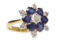 Lot 6-EIGHTEEN CARAT GOLD SAPPHIRE AND DIAMOND CLUSTER...