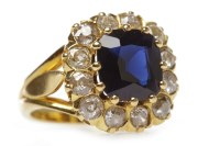 Lot 7-VICTORIAN STYLE SAPPHIRE AND DIAMOND CLUSTER RING ...