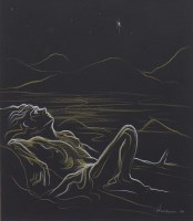 Lot 9-* PETER HOWSON OBE, NUDE BASKING IN THE MOONLIGHT ...