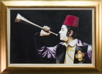 Lot 31-* GERARD BURNS, THE HORN PLAYER oil on canvas,...