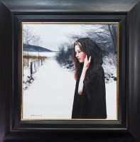 Lot 36-* GERARD BURNS, GIRL WITH CLOAK IN WINTER oil on...