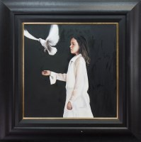 Lot 37-* GERARD BURNS, WHITE DRESS AND DOVE oil on...