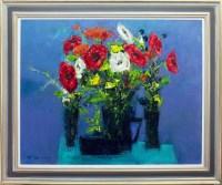Lot 119 - * NAEL HANNA, BLUE TABLE WITH THREE VASES oil...