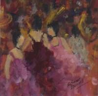 Lot 158 - * ELINOR EVANS, MY DANCERS acrylic on board,...