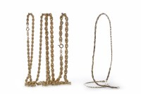 Lot 16-THREE NINE CARAT GOLD CHAINS two of rope form and ...