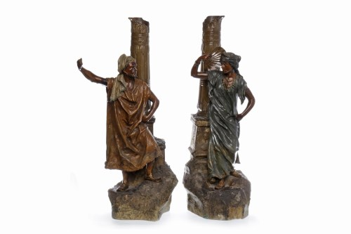 Lot 1230-PAIR OF CONTINENTAL STONEWARE FIGURES both in...