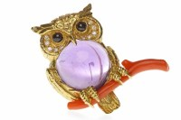 Lot 16-EIGHTEEN CARAT GOLD DIAMOND, AMETHYST AND CORAL...