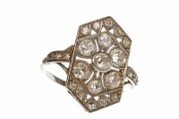 Lot 401-ART DECO DIAMOND PLAQUE RING the large hexagonal...