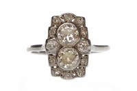 Lot 402-ART DECO DIAMOND DRESS RING the pierced plaque...