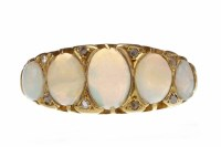 Lot 445-VICTORIAN EIGHTEEN CARAT GOLD OPAL AND DIAMOND...