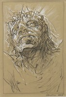 Lot 47-* PETER HOWSON OBE, CROWN OF THORNS charcoal...