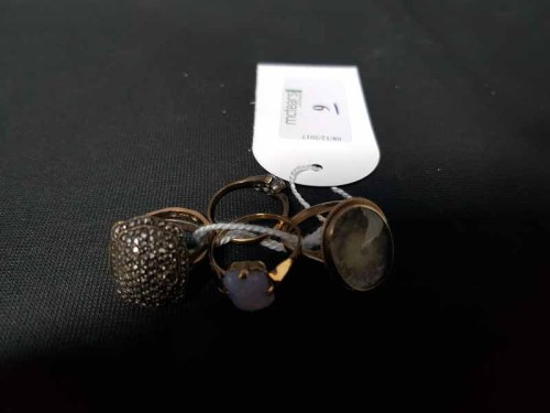 Lot 9-FIVE GOLD AND OTHER LADY'S DRESS RINGS