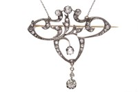 Lot 1-EDWARDIAN DIAMOND SET BROOCH PENDANT ON CHAIN...