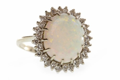 Lot 24-EIGHTEEN CARAT WHITE GOLD OPAL AND DIAMOND...