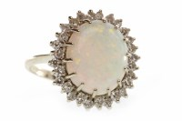 Lot 24-EIGHTEEN CARAT WHITE GOLD OPAL AND DIAMOND...