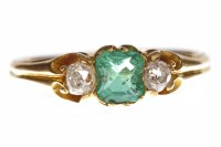 Lot 25-VICTORIAN EMERALD AND DIAMOND THREE STONE RING...