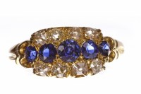 Lot 26-VICTORIAN SAPPHIRE AND DIAMOND RING with a...