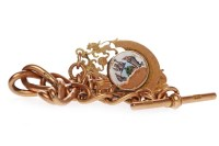 Lot 762-NINE CARAT GOLD WATCH CHAIN formed by graduated...