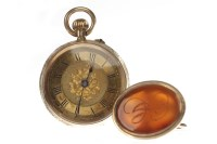 Lot 801-LADY'S CONTINENTAL FOURTEEN CARAT GOLD FOB WATCH...