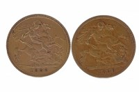 Lot 524-GOLD HALF SOVEREIGN DATED 1898 AND ANOTHER...