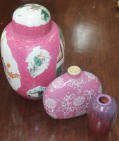 Lot 881 - CHINESE GINGER JAR with pink ground; along...